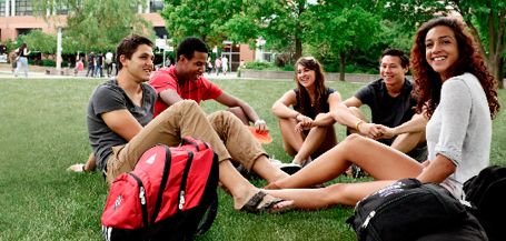 Group of students hanging out in front of the student centre