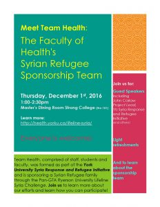 Meet Team Health: The Faculty of Health's Syrian Refugee Sponsorship Team- Thursday, December 1-2016