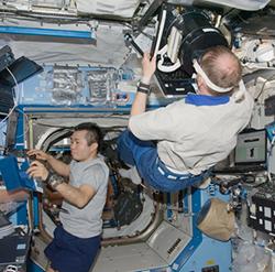 Astronauts in zero gravity
