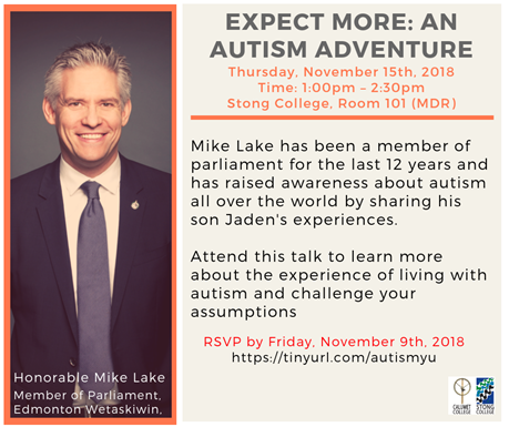 Expect More: An Autism Adventure @ Stong College, Room 101 (Master's Dining Room)